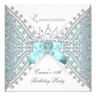 Quinceanera 15th Teal Blue Silver White Diamond 5.25x5.25 Square Paper Invitation Card