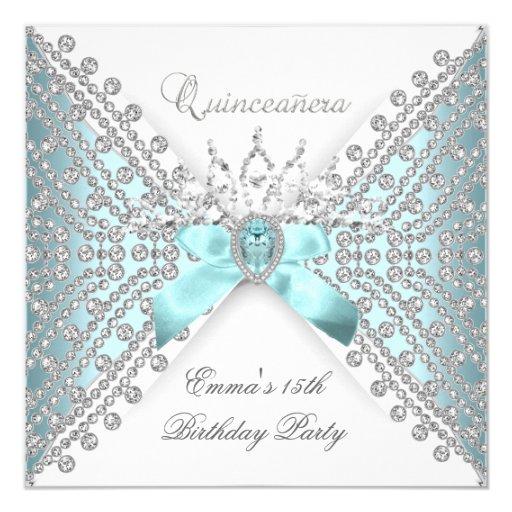 Quinceanera 15th Teal Blue Silver White Diamond 5.25x5.25 Square Paper Invitation Card