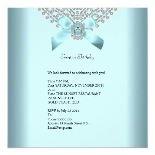 Quinceanera 15th Teal Blue Silver White Diamond Personalized Announcements (back side)