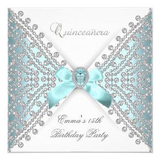 Quinceanera 15th Teal Blue White Faux Diamond Card
