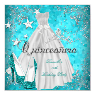 Quinceanera 15th Teal Shimmer Glitter 5.25x5.25 Square Paper Invitation Card