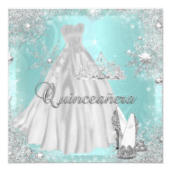 """Quinceanera 15th Teal Silver Birthday Party 5.25"""" Square Invitation Card"""