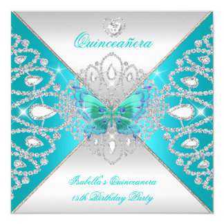 Quinceanera 15th Teal Silver Butterfly Tiara 2 5.25x5.25 Square Paper Invitation Card