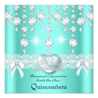 Quinceanera 15th Teal Silver Heart Diamonds 5.25x5.25 Square Paper Invitation Card