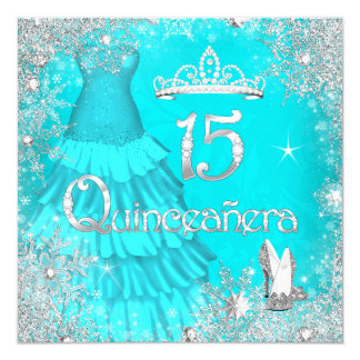 Quinceanera 15th Teal Silver Snowflakes Party 3 Card