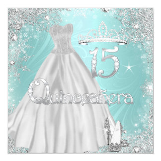 Quinceanera 15th Teal Silver Snowflakes Party Card