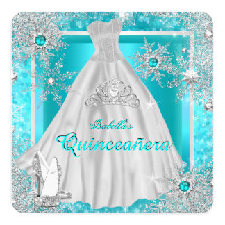 Quinceanera 15th Teal Winter Wonderland Snowflakes Card