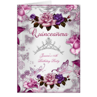 Quinceanera 15th Tiara White Pink Purple Rose Card