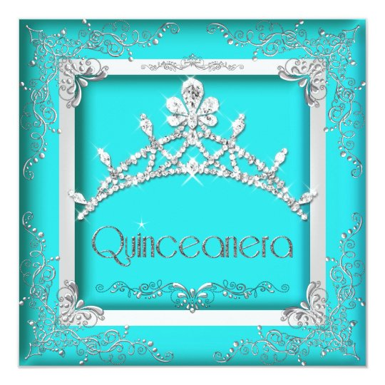 Quinceanera 15th Turquoise Silver Tiara 15 Party