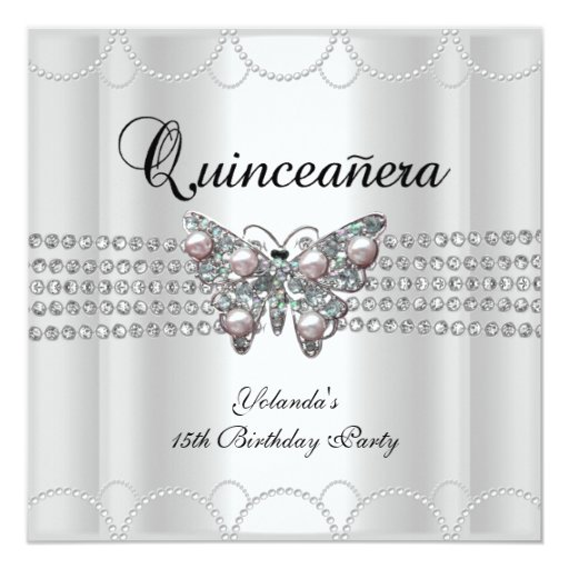 Quinceanera 15th White Butterfly Pearl Lace Announcements