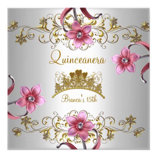 Quinceanera 15th White Pink Flowers Gold Tiara Personalized Invitation