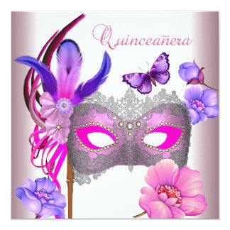 Quinceanera 15th White Pink  Purple Mask Card