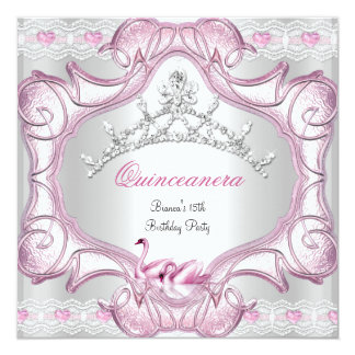 Quinceanera 15th White Pink Swans Tiara Card