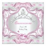 Quinceanera 15th White Pink Swans Tiara Invite