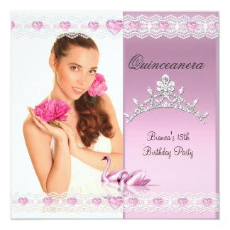 Quinceanera 15th White Pink Swans Tiara Photo Card