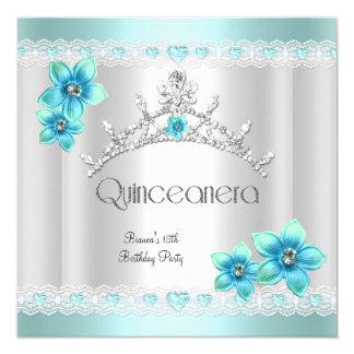 Quinceanera 15th White Teal Blue Silver Tiara Card