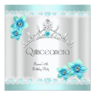 Quinceanera 15th White Teal Blue Silver Tiara Announcements