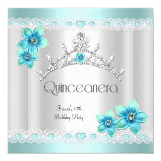 Quinceanera 15th White Teal Blue Silver Tiara 5.25x5.25 Square Paper Invitation Card