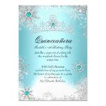 Quinceanera 15th Winter Wonderland Silver Blue 2 5x7 Paper Invitation Card