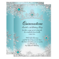 Quinceanera 15th Winter Wonderland Silver Blue 2 Card