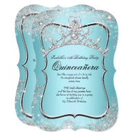 Quinceanera 15th Winter Wonderland Silver Blue Card