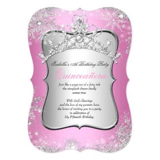 Quinceanera 15th Winter Wonderland Silver Pink 5x7 Paper Invitation Card