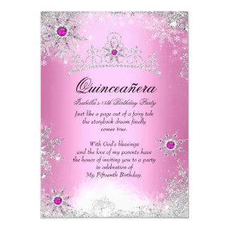 Quinceanera 15th Winter Wonderland Silver Pink Card