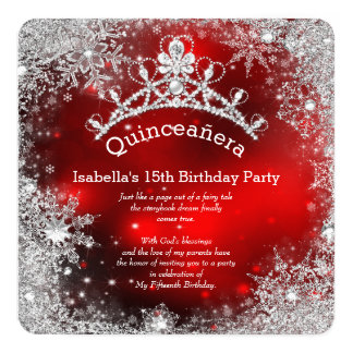 Quinceanera 15th Winter Wonderland Silver Red Card