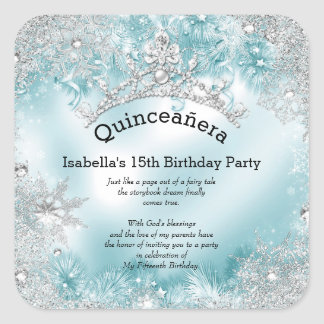 Quinceanera 15th Winter Wonderland Silver Teal 2 Square Sticker