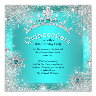 Quinceanera 15th Winter Wonderland Silver Teal 3 Card