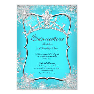 Quinceanera 15th Winter Wonderland Silver Teal 5x7 Paper Invitation Card