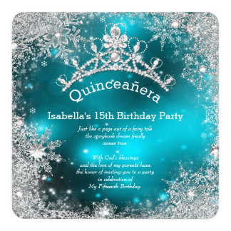 Quinceanera 15th Winter Wonderland Silver Teal Card