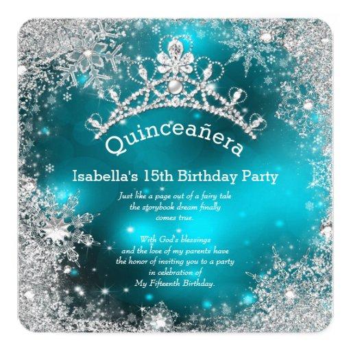 Quinceanera 15th Winter Wonderland Silver Teal Card | Zazzle