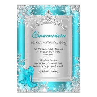 Quinceanera 15th Winter Wonderland Teal Aqua 5x7 Paper Invitation Card