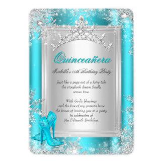 Quinceanera 15th Winter Wonderland Teal Aqua Card