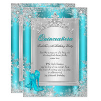 Quinceanera 15th Winter Wonderland Teal Aqua Card