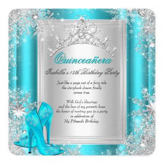Quinceanera 15th Winter Wonderland Teal Aqua 5.25x5.25 Square Paper Invitation Card