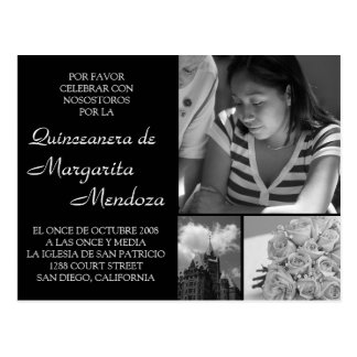 Quinceanera adaptable Invitacion Tarjeta Postal
