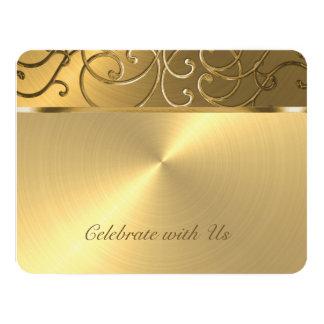 Quinceanera All Gold Filigree Swirl Border Card