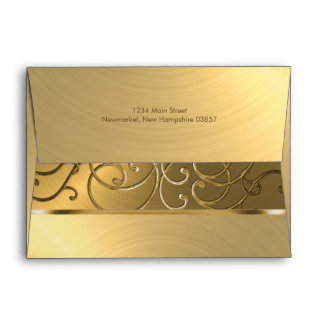 Quinceanera All Gold Filigree Swirl Border Envelope