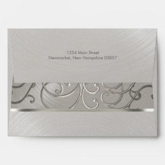 Quinceanera All Silver Filigree Swirls Envelope