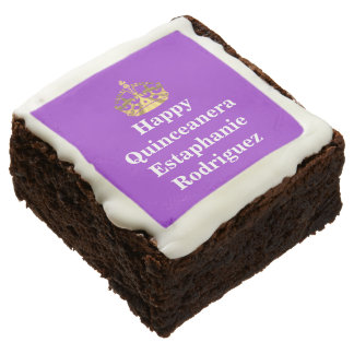 Quinceanera and gold crown square brownie