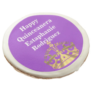 Quinceanera and gold crown sugar cookie