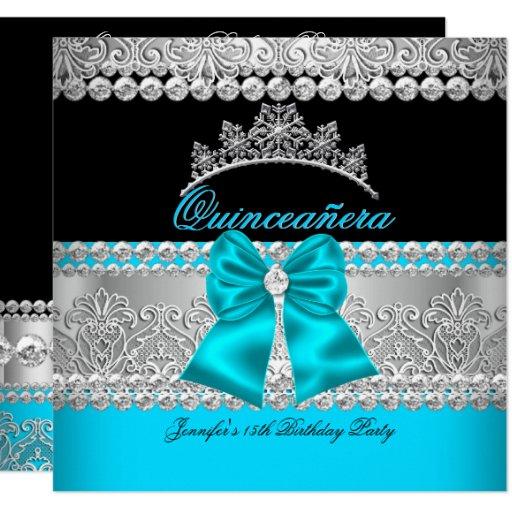 Quinceanera Aqua Blue Diamond Lace Birthday Party Card