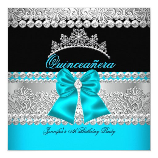 Quinceanera Aqua Blue Diamond Lace Birthday Party Card