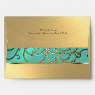 Quinceanera Aqua Green and Gold Filigree Swirls Envelope