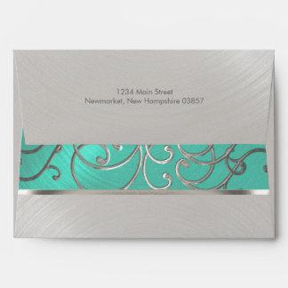 Quinceanera Aqua Green and Silver Filigree Swirls Envelope
