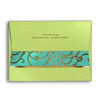 Quinceanera Aqua Lime Green Gold Filigree Swirls Envelope