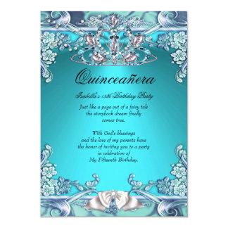 Quinceanera Aqua Teal 15th Birthday Party 5x7 Paper Invitation Card