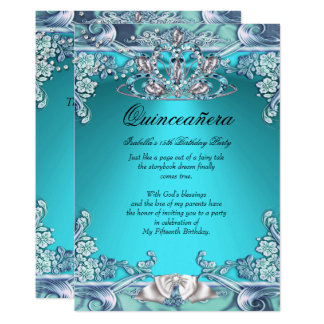 Quinceanera Aqua Teal 15th Birthday Party Card